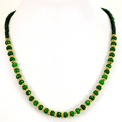 """Ny6design Green Dyed Jade Lobster Clasp Necklace 17"""" w 2"""" extension (JA234)a"""