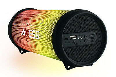 Axess Dancing LED Lights HiFi Bluetooth Rechargeable Speaker (Black) SPBL1043BLK