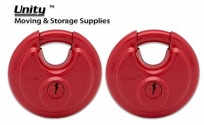 2 Stainless Steel Armor Disc Padlock Trailer Self Storage KEYED ALIKE, RED#7990