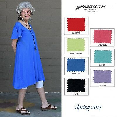 39a27b93ba8 CLEARWATER COTTON USA 8366 FLUTTER SLEEVE DRESS Banded Hem S M L XL SPRING  2017