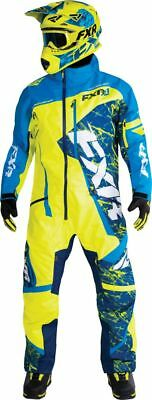 FXR Mens Hi-Vis/Blue/Navy Frost Snowmobile Maverick Monosuit Snocross