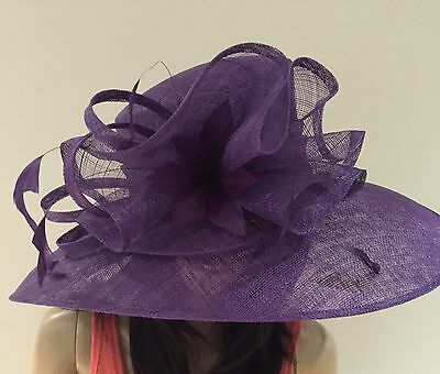 Purple Wedding Ascot Occasion Sinamay Hat Formal Mother Of The Bride