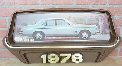 Original 1970s FORD Car Dealership Adv Sign 1978 GRANADA EUROPEAN SPORTS SEDAN