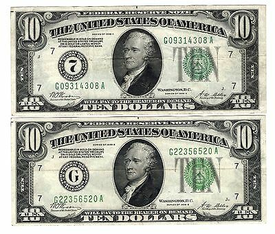 1928A $10 & 1928B $10 Federal Reserve Notes !!