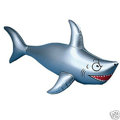 1 Inflatable Silver/Gray Shark Kid Luau Beach Tiki Decoration Party Favor Supply