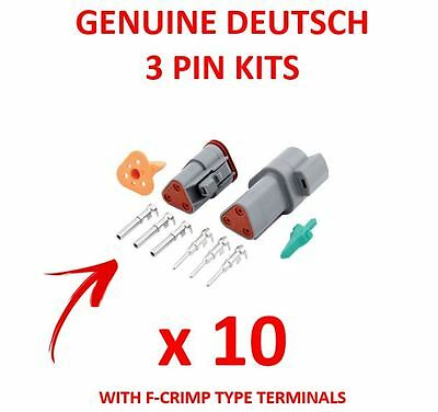 10 x DEUTSCH 3 Pin Connector Kits With F Crimp Terminals Male Female Plugs
