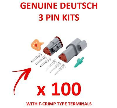 100 x DEUTSCH 3 Pin Connector Kits With F Crimp Terminals Male Female Plugs