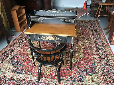 Ethan Allen Stenciled Desk & Chair, Ebonized, Paint Decorated, Hitchcock Style