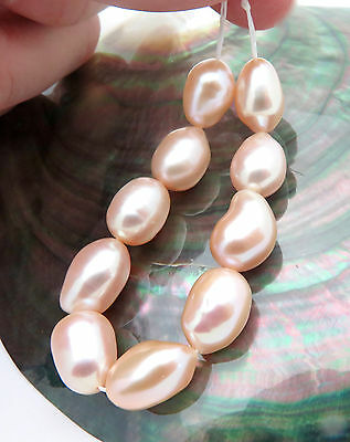 """10 Gorgeous Aaa Freshwater Apricot Pink Peach Pearls 5.65"""" Gorgeous Lge Baroques"""