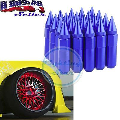 20pcs Aluminum Spike Tuner Extended Lug Nuts for Wheels Rim M12 X 1.5 60mm Blue