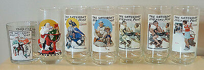 7 Norman Rockwell Saturday Evening Post Drinking Glasses Tumblers FREE SHIP