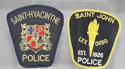 Obsolete Canada Saint-Hyacinthe & Saint John Police Shoulder Patches