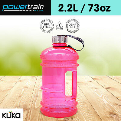 2.2L Jumbo Enviro Drink Water Bottle Shaker BPA Free Workout Gym Running Pink