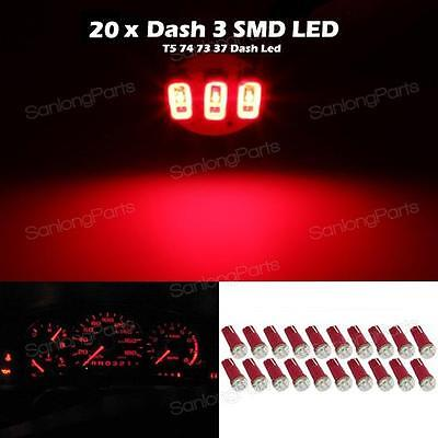 20x Car T5 3-SMD 37 74 2721 Instrument Dashboard Red LED bulbs light