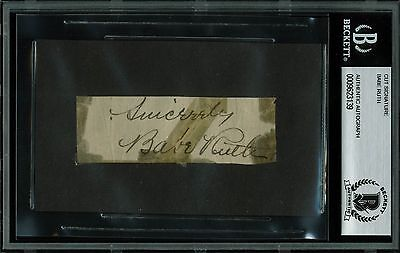 """Yankees Babe Ruth """"Sincerely"""" Signed 1.25x3.5 Cut Signature BAS Slabbed"""