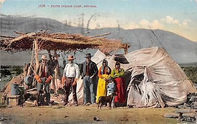 Paiute Indian Camp Native Americana Nevada Vintage Postcard 1909