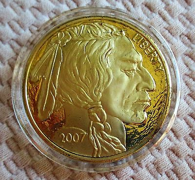 2007 Copy Of 1 Oz. Gold Buffalo Indian Head Coin. New