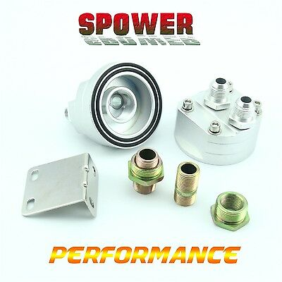 Universal Silver AN8 Oil Filter Cooler Sandwich Plate Adapter Relocation Kit New