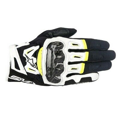 Alpinestars Mens SMX-2 Air Carbon V2 Gloves - Black / White / Yellow Road Motorc