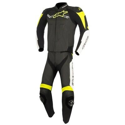 Alpinestars Mens Challenger-V2 2 Piece Leather Suit - Black / Fluro Yellow Road
