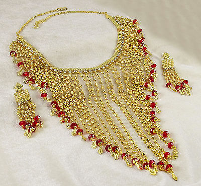 Bollywood Designer Gold Plated Necklace Set Ethnic Traditional Women Jewelry