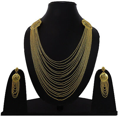 Bollywood 18K Gold Plated Necklace Earring Set Women Jewelry BNG6A-PAR