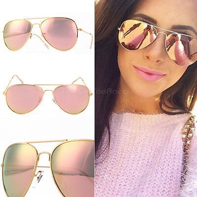 Vintage Retro Women Rose Gold Cat Eye Designer Mirrored Sunglasses Eyewear UV400