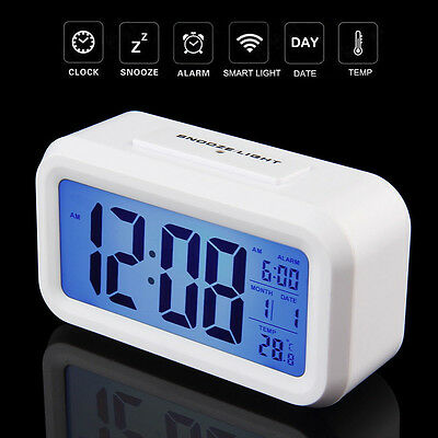 Led Display Table Digital Date Time Temperature Light Control Wall Clock White