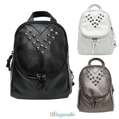 Women's Casual Backpack Rivet PU Leather Handbag Rucksack Shoulder School Bag