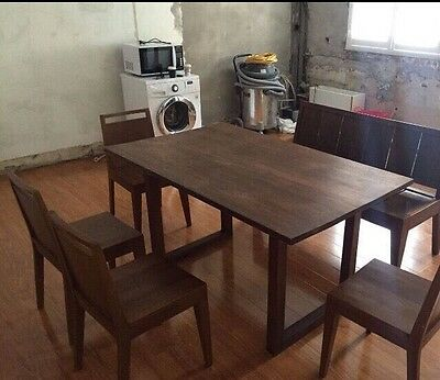 6 seater retro Teak wooden dining table with 4 chairs and a bench