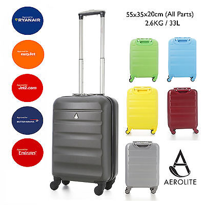 Aerolite 55x35x20 IATA ABS Hard Shell Hand Cabin Luggage Suitcase 4W Spinner