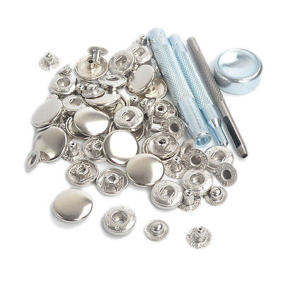 Punch Tool Set w/15 Sets 15mm Silver Metal Snap Fasteners Button Press Studs Kit