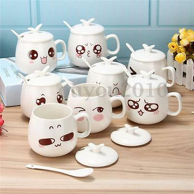Lovely Tea Coffee Milk Cup Ceramic Travel Cup Pottery Water Mug Cup + Spoon