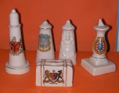 Crested China Minster,Chester,Conway(2),Grantham Crests