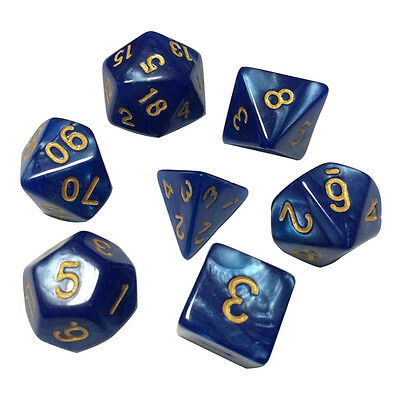 7pcs TRPG Game Dungeons & Dragons Pearl Grain D4-D20 Multi Sided Dices Set A
