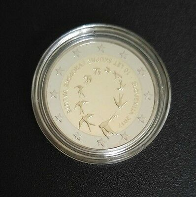 "2 € Proof Slovenia 2017 ""Tenth Anniversary of the Euro in Slovenia"" in Plastic C"