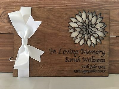 Personalised Book of Condolence Bereavement Funeral Guest Book Scrapbook