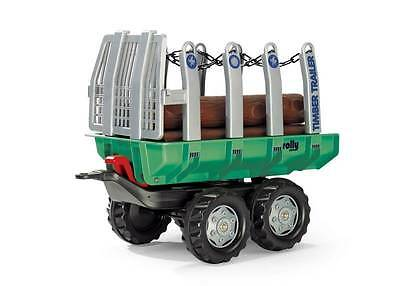Rolly Pedal Tractor Timber Trailer Green & 5 Logs
