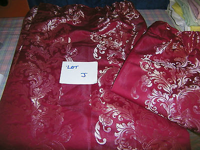 """Pair of red shiny patternedl lined curtains 44"""" W  x 64"""" L LOT j"""