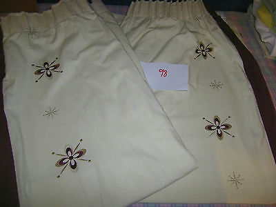 """Pair of cream burgandy edged unlined curtains 64"""" W  x 52"""" L LOT 98"""