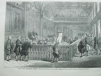 Antique Print C1875 The Last Heraldic Court Engraving London Old & New History