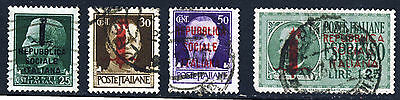 ITALIAN SOCIAL REPUBLIC 1944 Overprinted Part Set SG 57 to SG E62 VFU