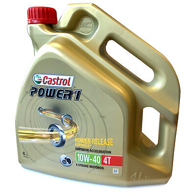 Castrol Power 1 Motorcycle Motorbike 4-Stroke Engine Oil 10W-40 4 Litre