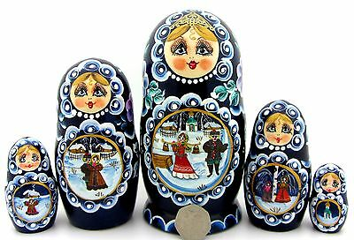 Russian nesting dolls 5 Winter Christmas Walks hand painted Babushka SIMAKOVA