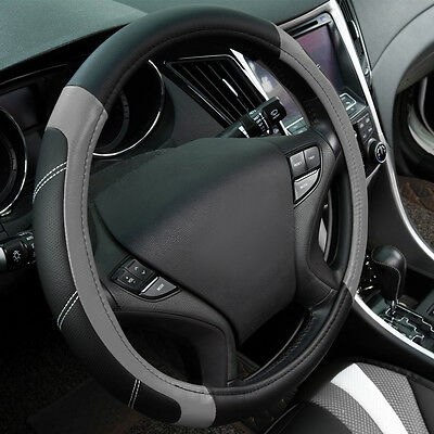 Universal Fit Fashion Steering Wheel Cover Leather Grey Black 37-39CM