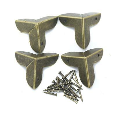 4Pcs Antique Alloy Triangle Box Corner Protector Guards Edge Cover 22mm