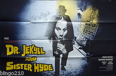 Dr Jekyll & Sister Hyde Original 1971 Quad Poster Signed Martine Beswick Hammer