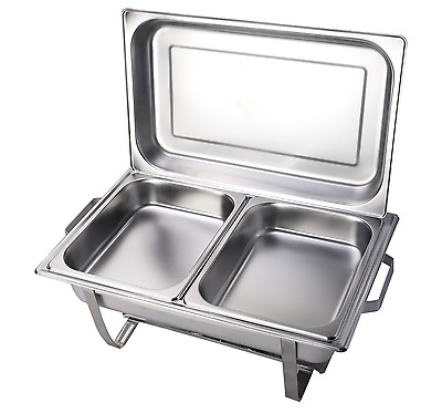Chafing Dish Stainless Steel 2 Pack of 9 Quart Rectangular Full Size Catering