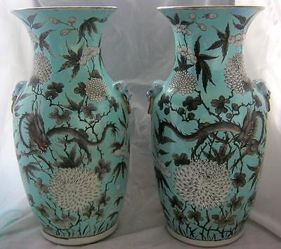 """C19th Chinese Dragon Vases on Duck Egg Blue Ground Applied Handles 14"""" - Damage"""