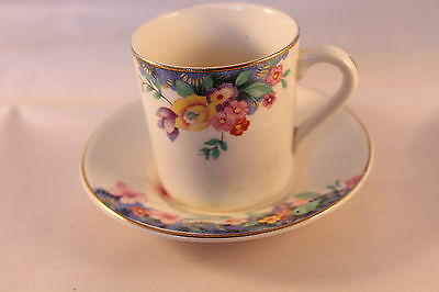 W H GRINDLEY COFFEE CAN COFFEE CUP DEMI TASSE & SAUCER RARE 1936c ART DECO